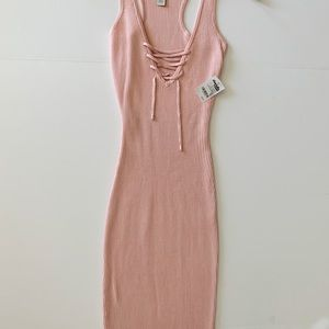 Over the knee ribbed dress